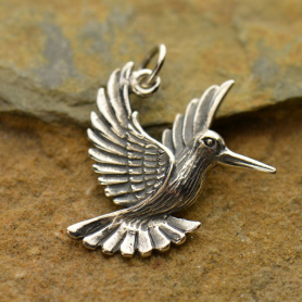 A1240   -SV-CHRM Sterling Silver Hummingbird Charm - Realistic DISCONTINUED