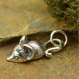A1245   -SV-CHRM Sterling Silver Mouse Charm - Animal Charms