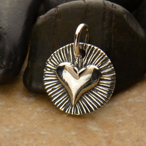 A1262   -SV-CHRM Sterling Silver Radiant Heart Charm - Small