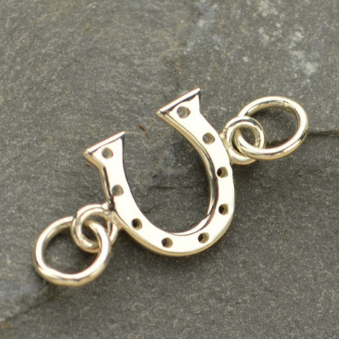 A1266   -SV-LINK Sterling Silver Charm Links - Lucky Horseshoe