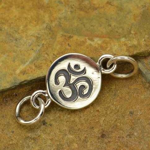 A1267   -SV-LINK Sterling Silver Charm Links - Om Etched on Disc