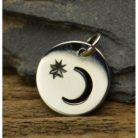 A1271   -SV-CHRM Sterling Silver Circle Charm with Moon Cutout