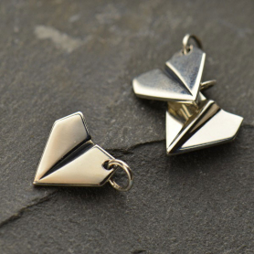 A1281   -SV-CHRM Sterling Silver Paper Airplane Charm