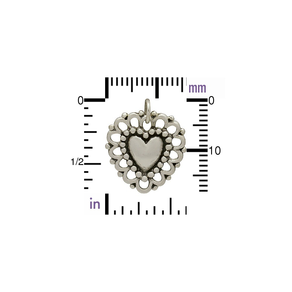 Sterling Silver Heart Charm with Lacy Doily DISCONTINUED