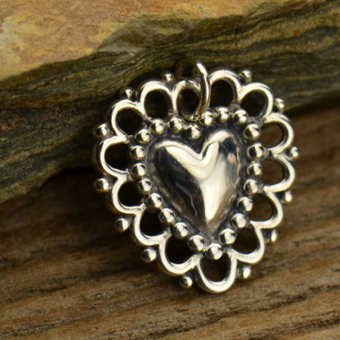 A1289   -SV-CHRM Sterling Silver Heart Charm with Lacy Doily DISCONTINUED