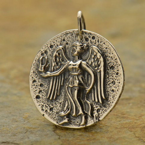 A1290   -SV-CHRM Sterling Silver Ancient Coin Charm - Angel