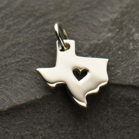A1304   -SV-CHRM Sterling Silver State Charm - Texas State with Heart