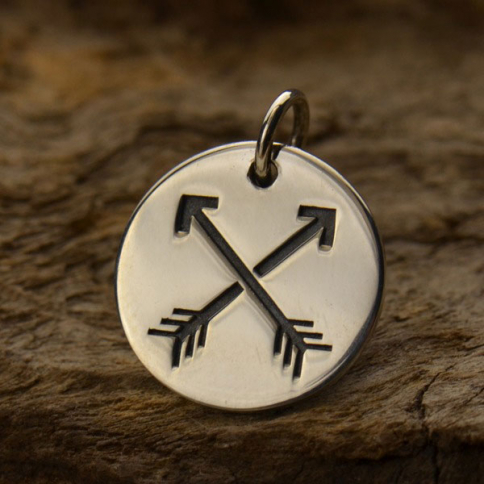 A1309   -SV-CHRM Sterling Silver Friendship Charm - Arrows on Round Charm