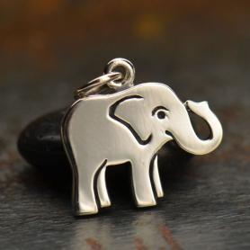 A1334   -SV-CHRM Sterling Silver Baby Elephant Charm - Animal Charms