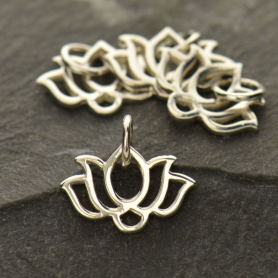 A1338   -SV-CHRM Sterling Silver Wide Lotus Charm - Tiny
