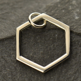 A1346   -SV-CHRM Sterling Silver Single Honeycomb Charm -18mm