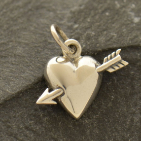 A1351   -SV-CHRM Sterling Silver Heart Charm with Arrow