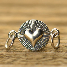 A1361   -SV-LINK Sterling Silver Charm Link - Radiant Heart DISCONTINUED