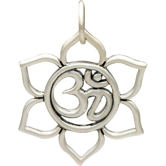 Small Sterling Silver Lotus Charm with Om - Openwork