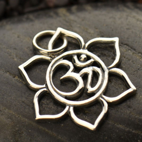 A1363   -SV-CHRM Small Sterling Silver Lotus Charm with Om - Openwork