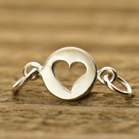 A1376   -SV-LINK Sterling Silver Charm Links - Circle with Heart Cutout