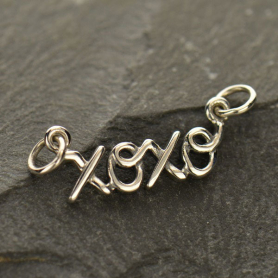 A1378   -SV-FEST Jewelry Supplies - Cursive XOXO Pendant Silver Link