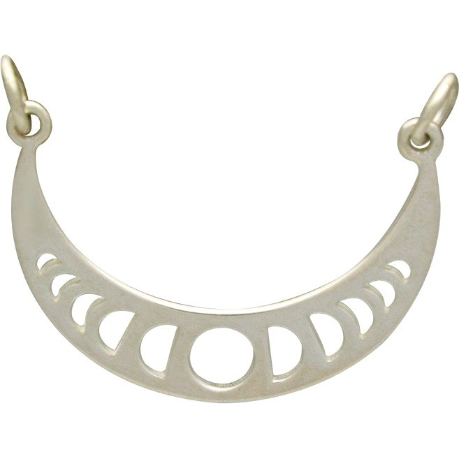 Jewelry Supplies - Moon Phases Pendant Silver Links