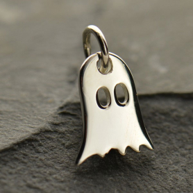 A1388   -SV-CHRM Sterling Silver Ghost Charm - Halloween Charm