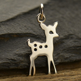 A1393   -SV-CHRM Sterling Silver Fawn Charm - Christmas Charms