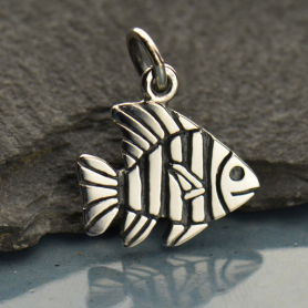 A1394   -SV-CHRM Silver Tropical Fish Charm - Beach Charm DISCONTINUED