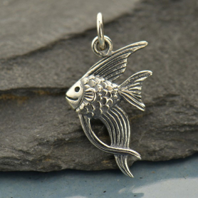 A1395   -SV-CHRM Sterling Silver Angelfish Charm - Beach Charm
