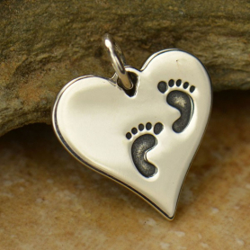 A1407   -SV-CHRM Sterling Silver Heart Charm with Etched Footprints