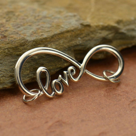 A1411   -SV-FEST Infinity Pendant with Love Script Silver Link DISCONTINUED