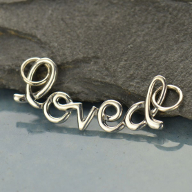 A1419   -SV-FEST Cursive Loved Pendant Silver Links DISCONTINUED