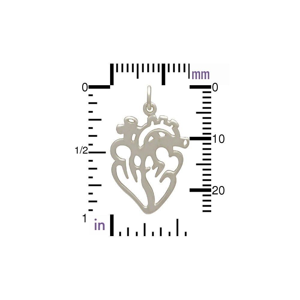Sterling Silver Anatomical Heart Charm - Flat