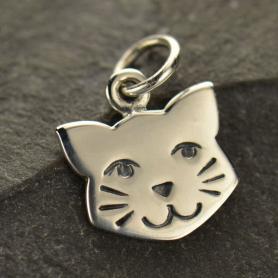 A1427   -SV-CHRM Sterling Silver Cat Face Charm - Pet Charm