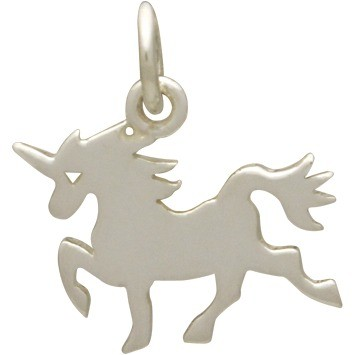 Sterling Silver Unicorn Charm - Animal Charms - Flat