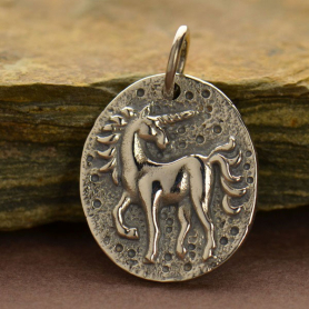 A1435   -SV-CHRM Sterling Silver Ancient Coin Charm - Unicorn