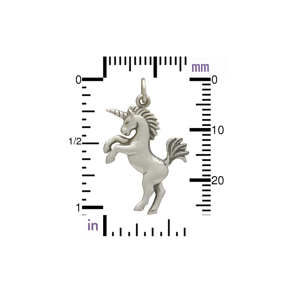 Sterling Silver Unicorn Charm - Animal Charms - 3D