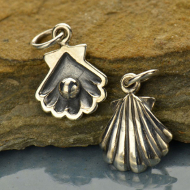 A1445   -SV-CHRM Sterling Silver Clam Shell Charm with Pearl - Beach Charm