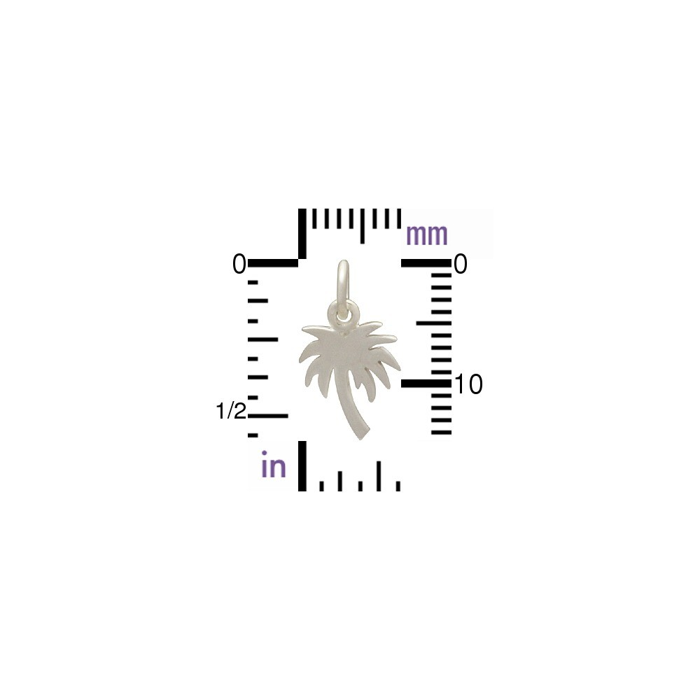 Sterling Silver Palm Tree Charm - Flat