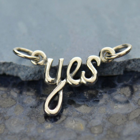 A1454   -SV-FEST Cursive Yes Pendant Silver Links DISCONTINUED