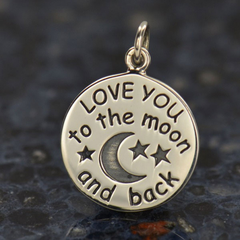 A1459   -SV-CHRM Sterling Silver Word Charm - Love You to the Moon and Back