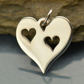 A1472   -SV-CHRM Sterling Silver Heart Charm with Two Heart Cutouts