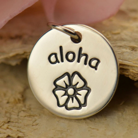 A1489   -SV-CHRM Sterling Silver Word Charm - Aloha - Round