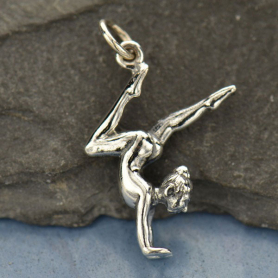 A1505   -SV-CHRM Sterling Silver Gymnast Charm - Sports Charms - 3D
