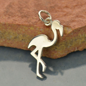 A1507   -SV-CHRM Sterling Silver Flamingo Charm - Animal Charm