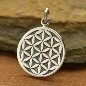 A1509   -SV-CHRM Sterling Silver Flower of Life Charm - Sacred Geometry