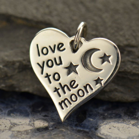 A1511   -SV-CHRM Sterling Silver Word Charm- Love You to the Moon - Heart