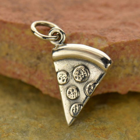 A1515   -SV-CHRM Sterling Silver Pizza Charm - Food Charm