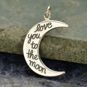 A1522   -SV-CHRM Sterling Silver Word Charm - Moon Shape - Love You to the