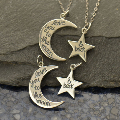 A1524   -SV-CHRM Sterling Silver Word Charm - Set - Love You to the Moon