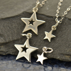 A1525   -SV-CHRM Sterling Silver Star Charm - Set - Large and Small Star