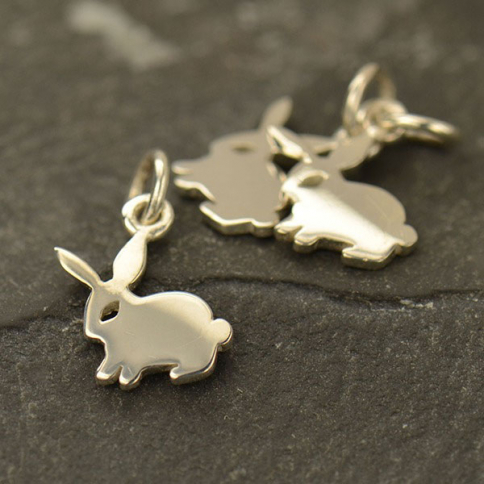 A1528   -SV-CHRM Sterling Silver Bunny Charm - Animal Charms - Flat