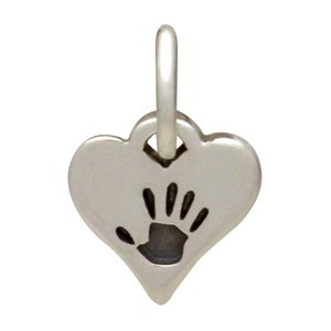 Tiny Sterling Silver Hand Print Charm - Heart Shape